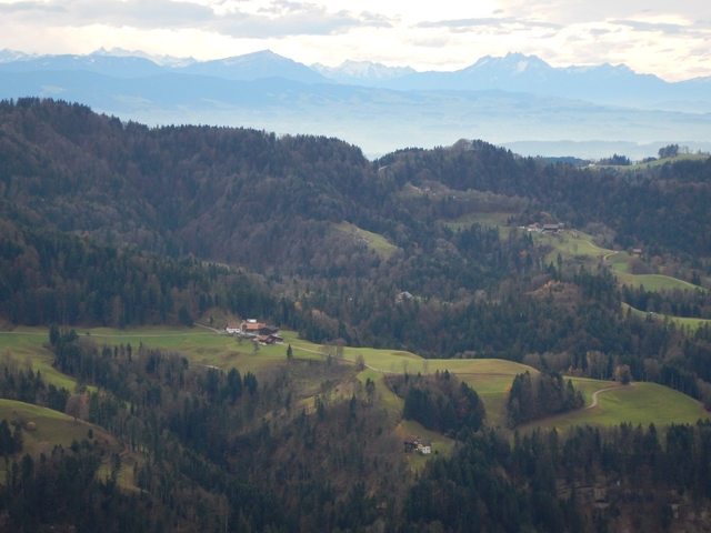 Spectacular view from Hoernli towards the alps (Rigi, Pilatus)